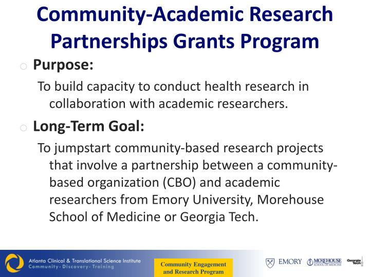 Community-Academic Research Partnerships Grants Program