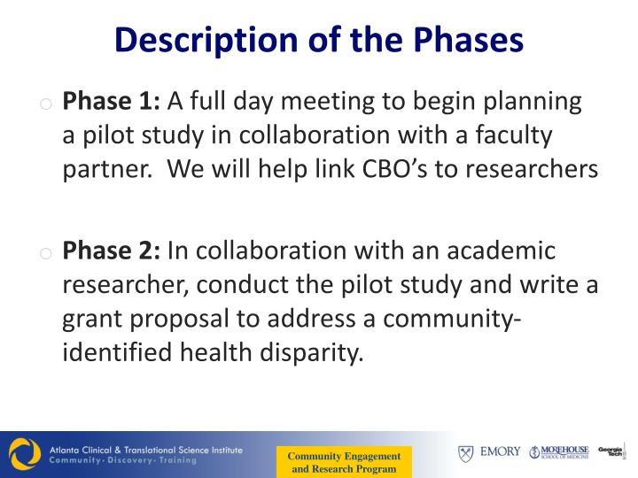 Description of the Phases