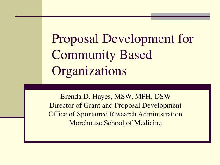 proposal development for community based organizations n.
