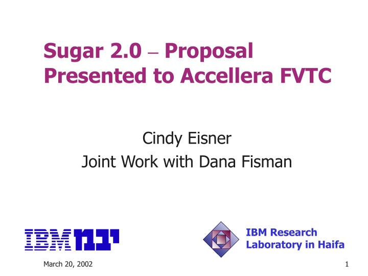 sugar 2 0 proposal presented to accellera fvtc n.