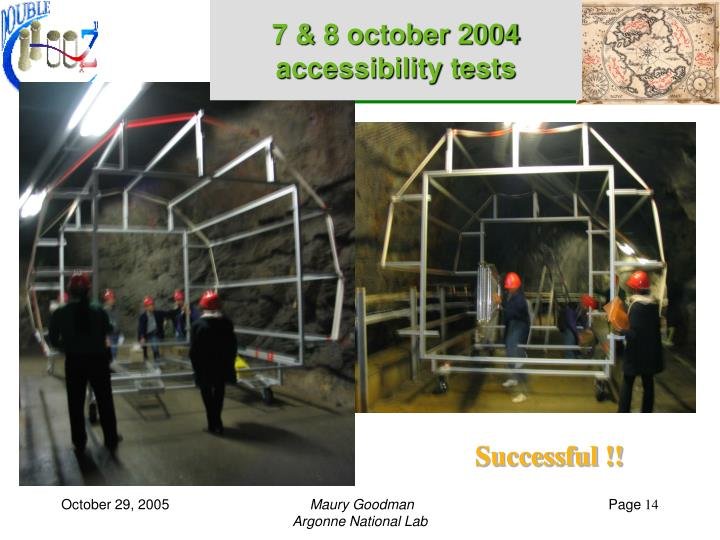 7 & 8 october 2004 accessibility tests