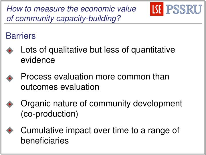 How to measure the economic value of community capacity-building?
