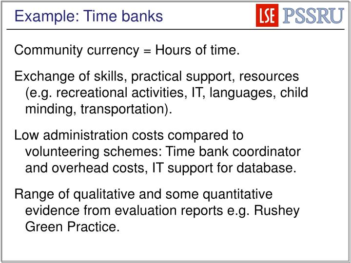 Example: Time banks