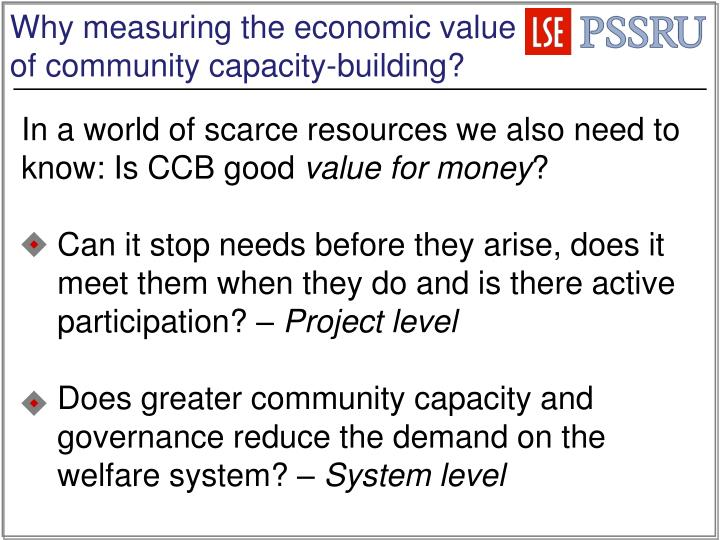 Why measuring the economic value of community capacity-building?