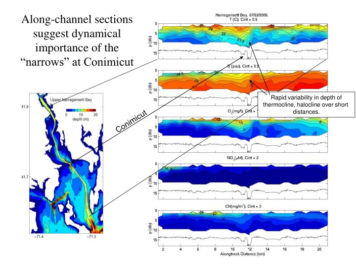 """Along-channel sections suggest dynamical importance of the """"narrows"""" at Conimicut"""