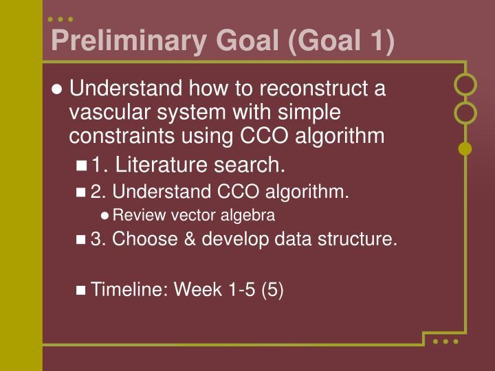 Preliminary Goal (Goal 1)