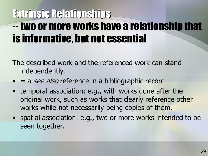 Extrinsic Relationships