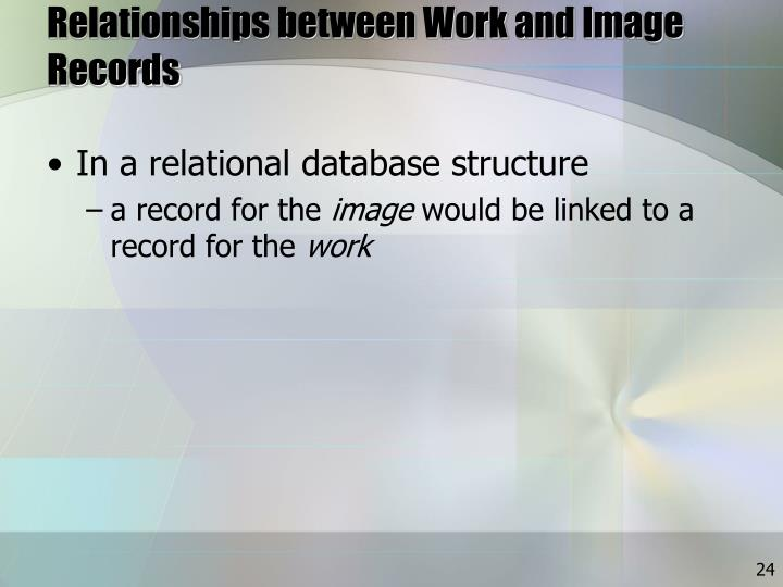 Relationships between Work and Image Records