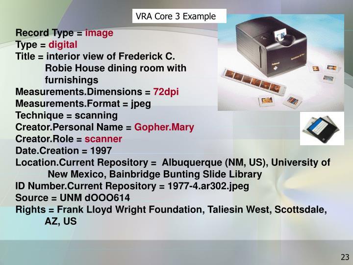 VRA Core 3 Example