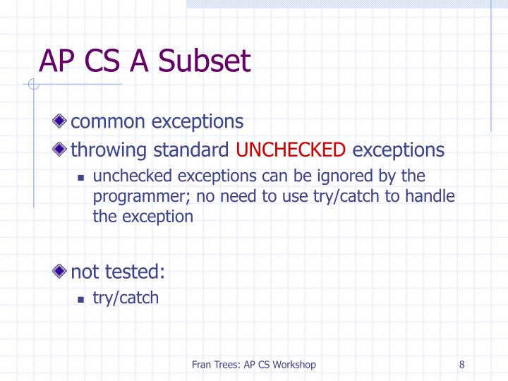 AP CS A Subset
