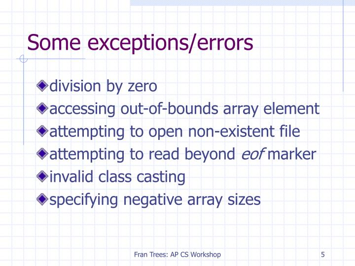 Some exceptions/errors