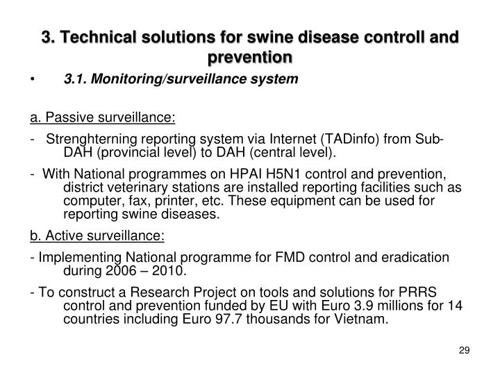 3. Technical solutions for swine disease controll and prevention