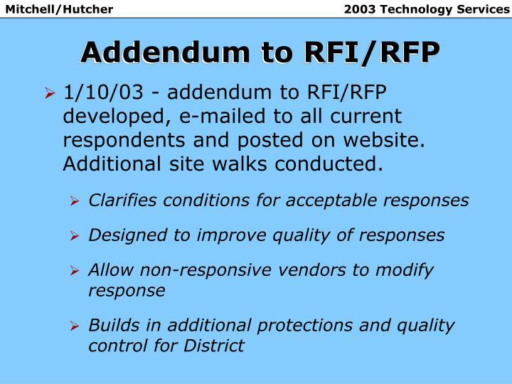 Addendum to RFI/RFP