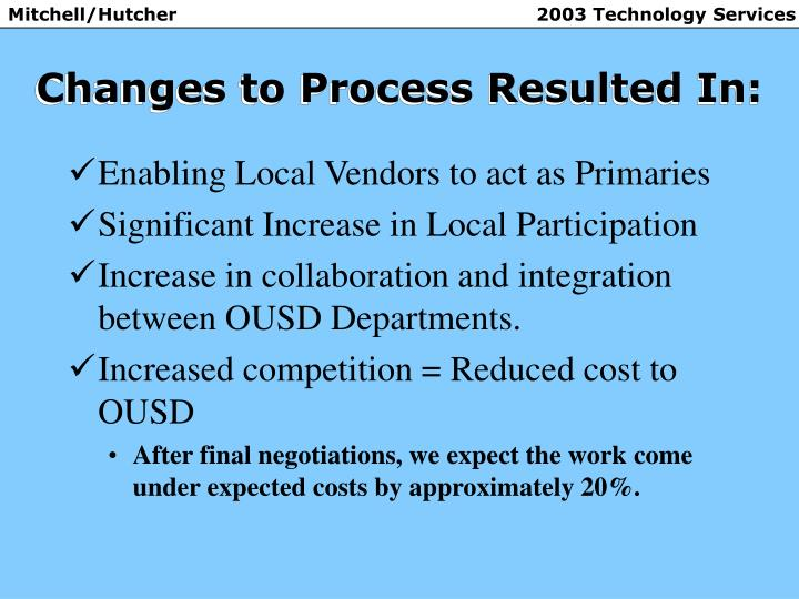 Changes to Process Resulted In: