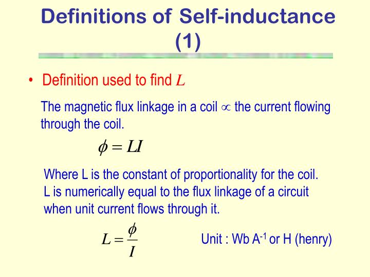 Definitions of Self-inductance (1)
