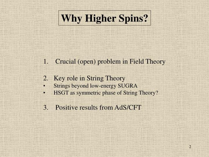 Why Higher Spins?