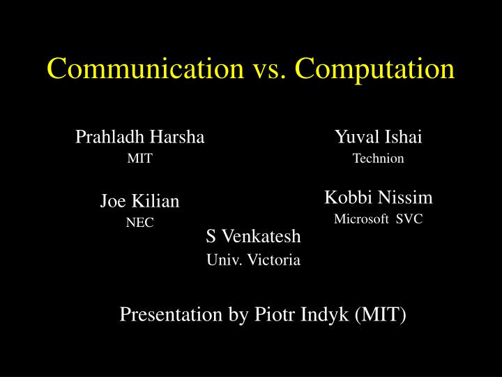 communication vs computation