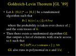 goldreich levin theorem gl 89