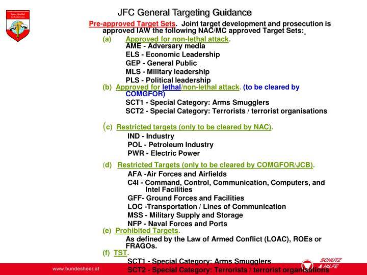JFC General Targeting Guidance