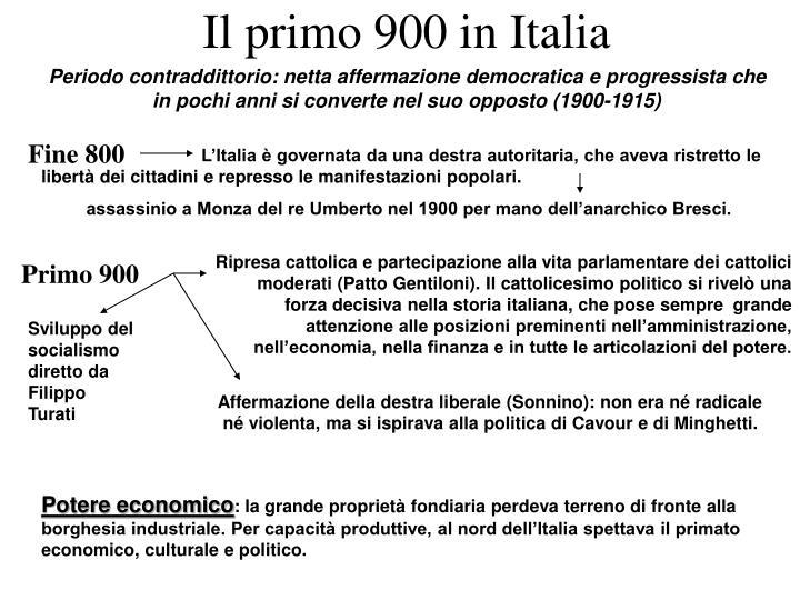 Il primo 900 in Italia