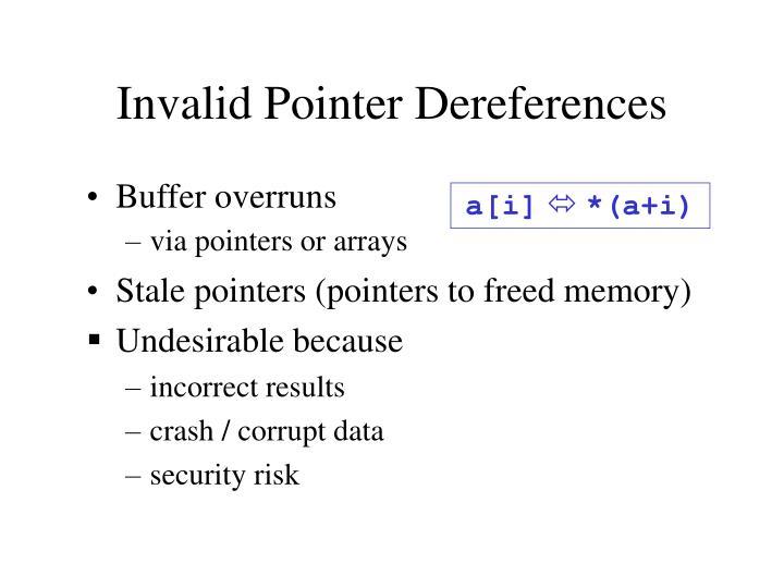 Invalid pointer dereferences
