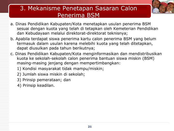 3. Mekanisme Penetapan Sasaran Calon Penerima BSM