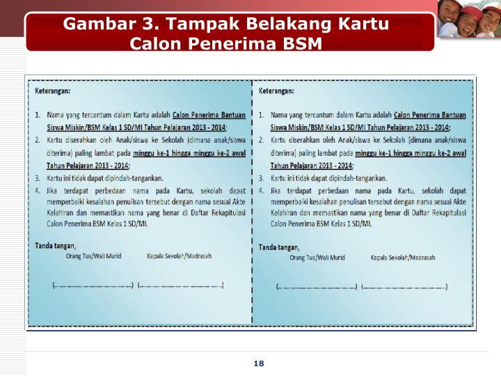 Gambar 3. Tampak Belakang Kartu Calon Penerima BSM
