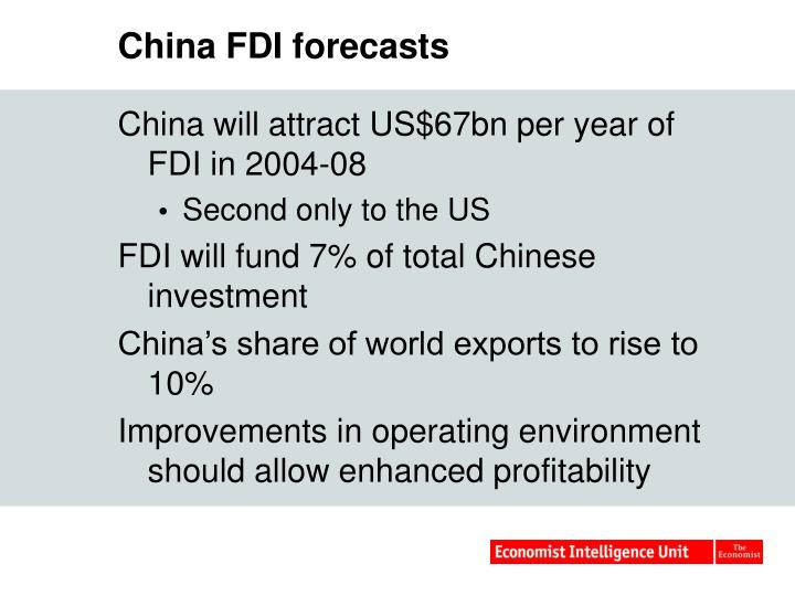 China FDI forecasts