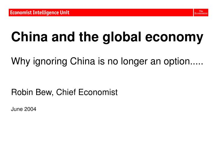China and the global economy