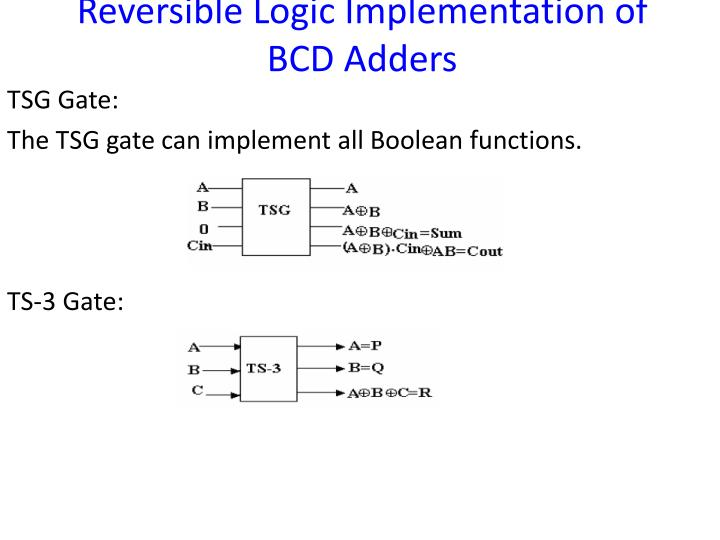 Reversible Logic Implementation of BCD Adders