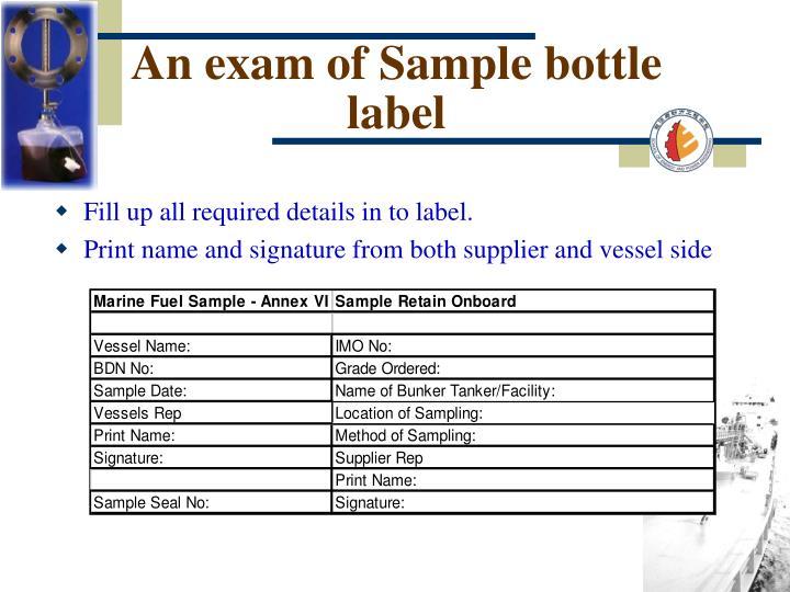 An exam of Sample bottle label