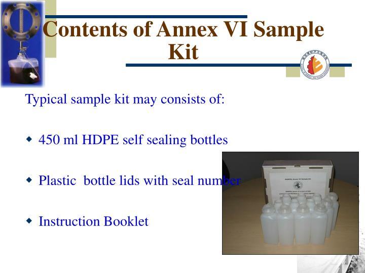 Contents of Annex VI Sample Kit