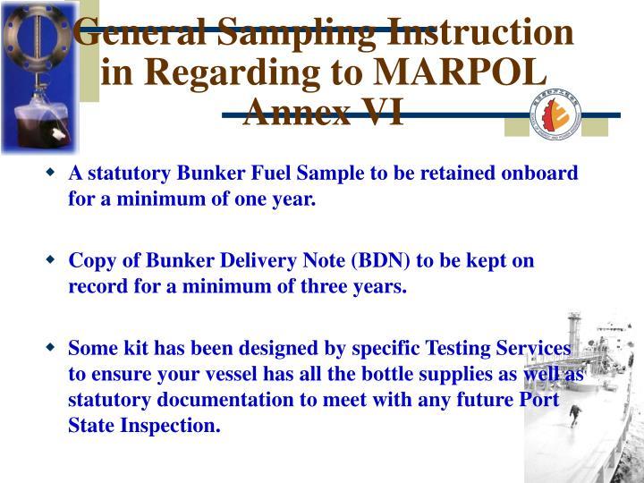 General Sampling Instruction in Regarding to MARPOL Annex VI