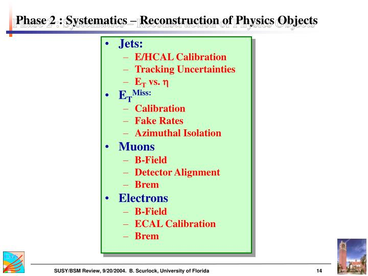 Phase 2 : Systematics – Reconstruction of Physics Objects