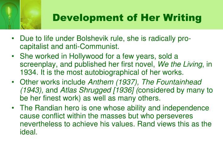 Development of her writing