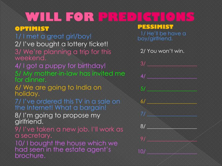 Will for predictions