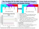the modified w ta ods joints indicated simpler fabrication and smaller strains