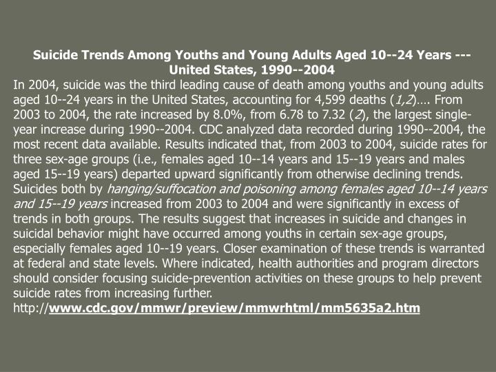 suicide among youth Researchers have found that suicide among lgbt youth is comparatively higher than among the 2 bisexual youth 3 institutionalized and internalized homophobia 4 homosexuality hidden among.