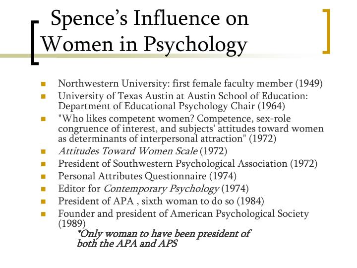 Spence's Influence on Women in Psychology