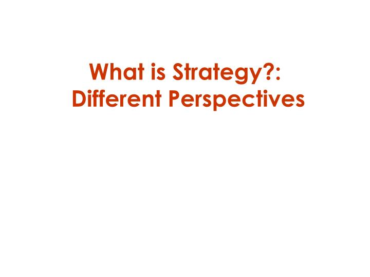 what is strategy different perspectives n.