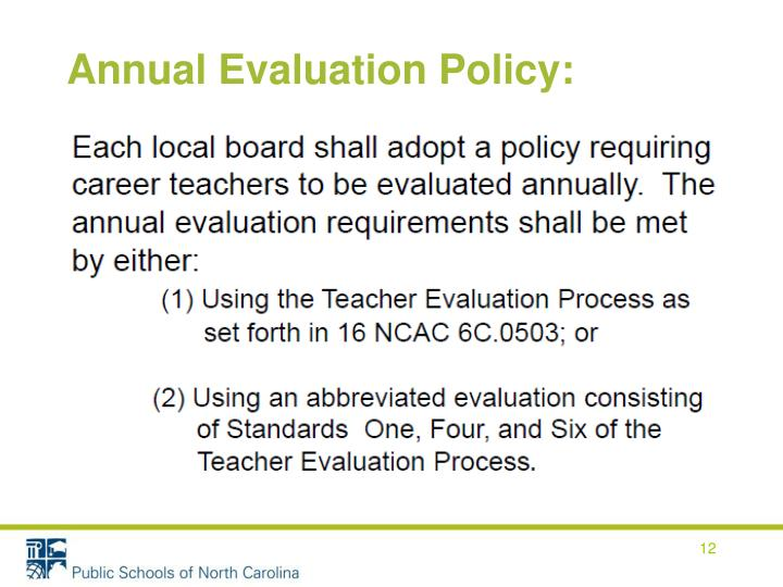 Annual Evaluation Policy: