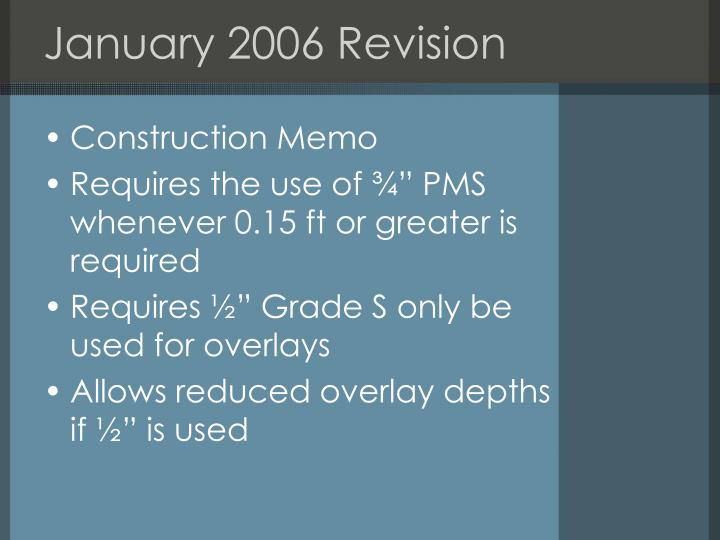 January 2006 Revision