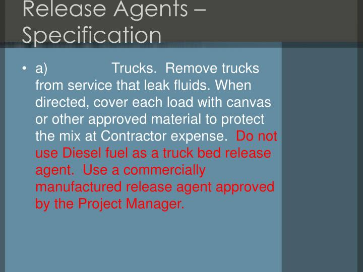 Release Agents – Specification