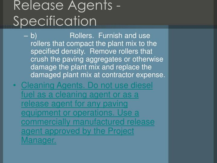 Release Agents - Specification