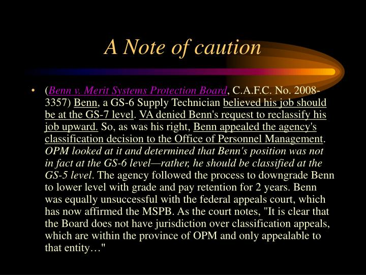 A Note of caution