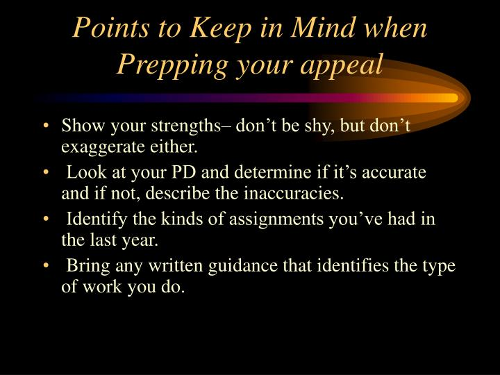 Points to Keep in Mind when Prepping your appeal