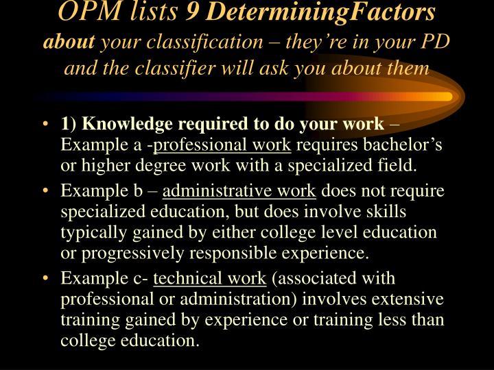 OPM lists