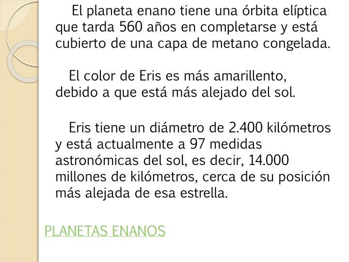 El planeta enano tiene una órbita elíptica que tarda 560 años en completarse y está cubierto de una capa de metano congelada.