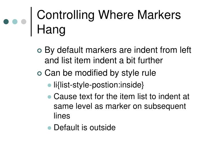 Controlling Where Markers Hang