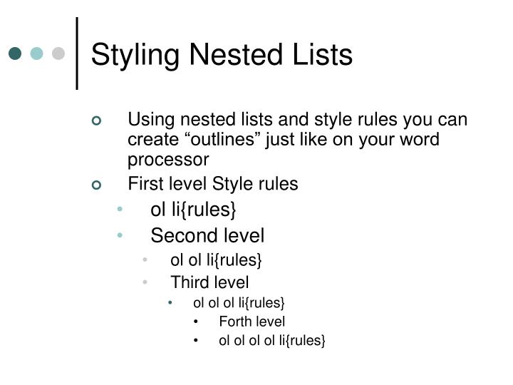 Styling Nested Lists
